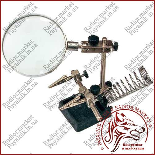 Тримач Третя рука з лупою MG16129, 3Х, діам-90мм, скло