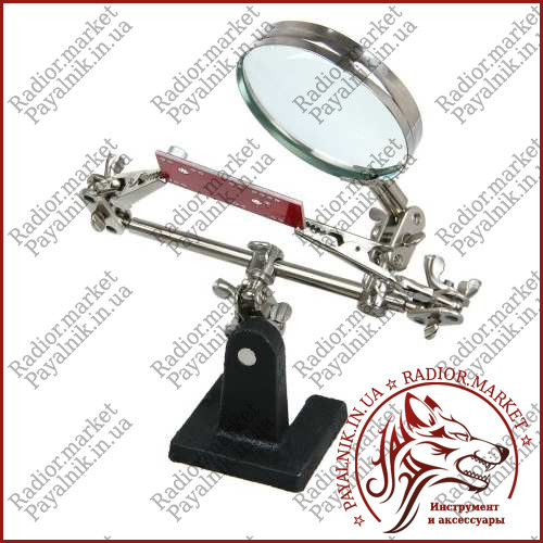 Держатель для пайки Третья Рука JM-501 (ZD10-D) линза 60мм. стекло