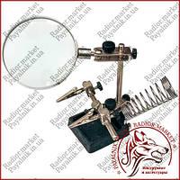 Подставка Третья Рука для пайки JM-508 (Mg16129) линза 90мм. стекло, держатель плат