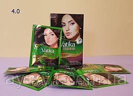 Краска на основе хны,  4,0 / Vatika Hair Colour Powder / 60 г (6 пакетиков по 10 г )