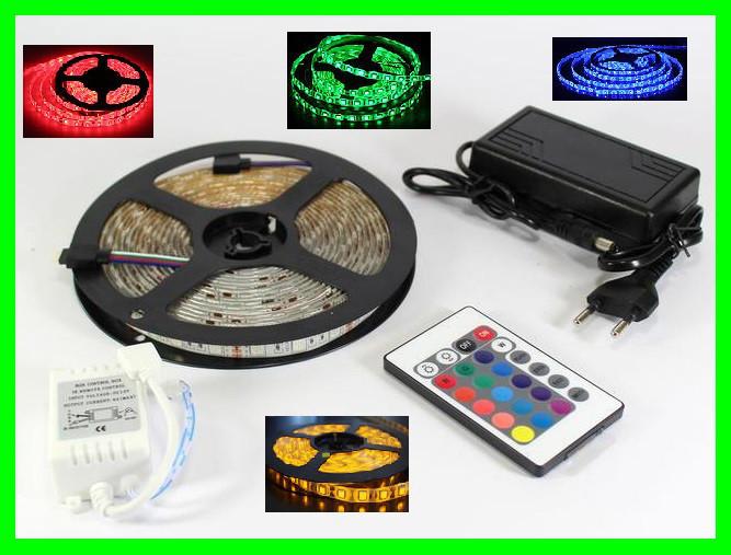 Разноцветная RGB  5050 LED лента 5м с пультом ДУ и Блоком Питания (ВидеоОбзор)