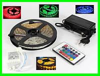 Разноцветная RGB  5050 LED лента 5м с пультом ДУ и Блоком Питания (ВидеоОбзор), фото 1