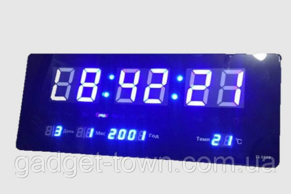Настінні електронні годинники LED великі цифри сині