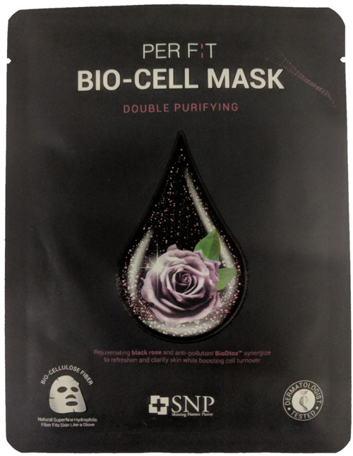 Биоцеллюлозная маска с экстрактом черной розы SNP Double Synergy Purifying Bio-Cell Mask, 1 шт