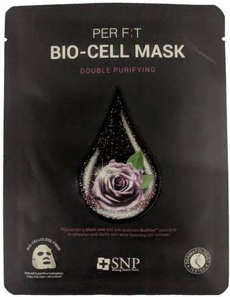 Биоцеллюлозная маска с экстрактом черной розы SNP Double Synergy Purifying Bio-Cell Mask, 1 шт, фото 2