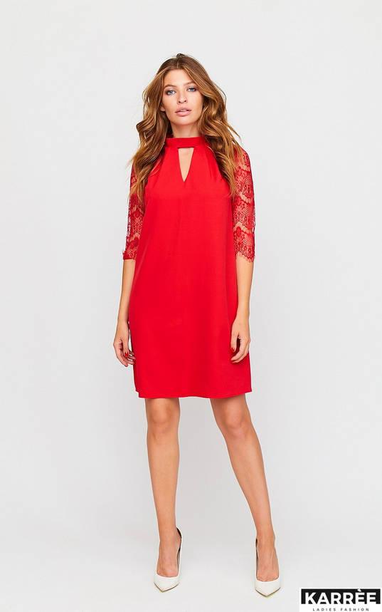 Красивое платье трапеция с гипюром красное, фото 2