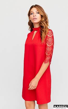 Красивое платье трапеция с гипюром красное, фото 3