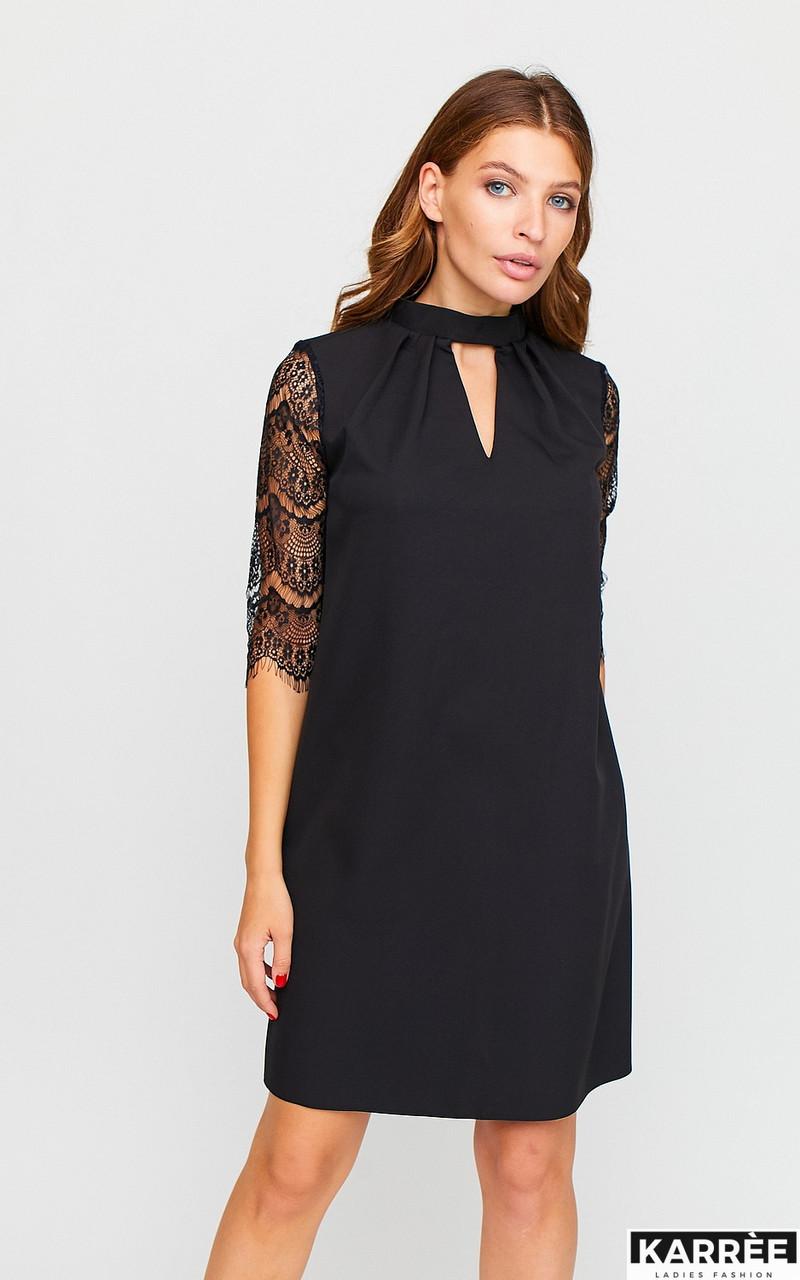 Красивое платье трапеция с гипюром черное