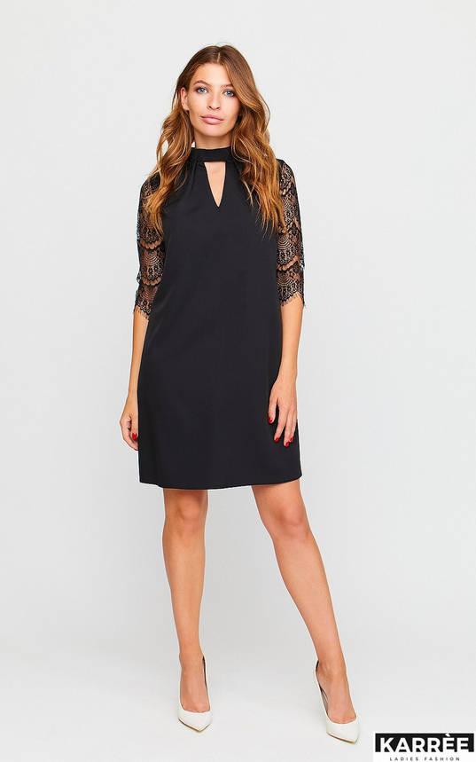 Красивое платье трапеция с гипюром черное, фото 2