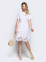 Платье женское модное play из хлопка с узором по низу M 44-46 белое s19APw17