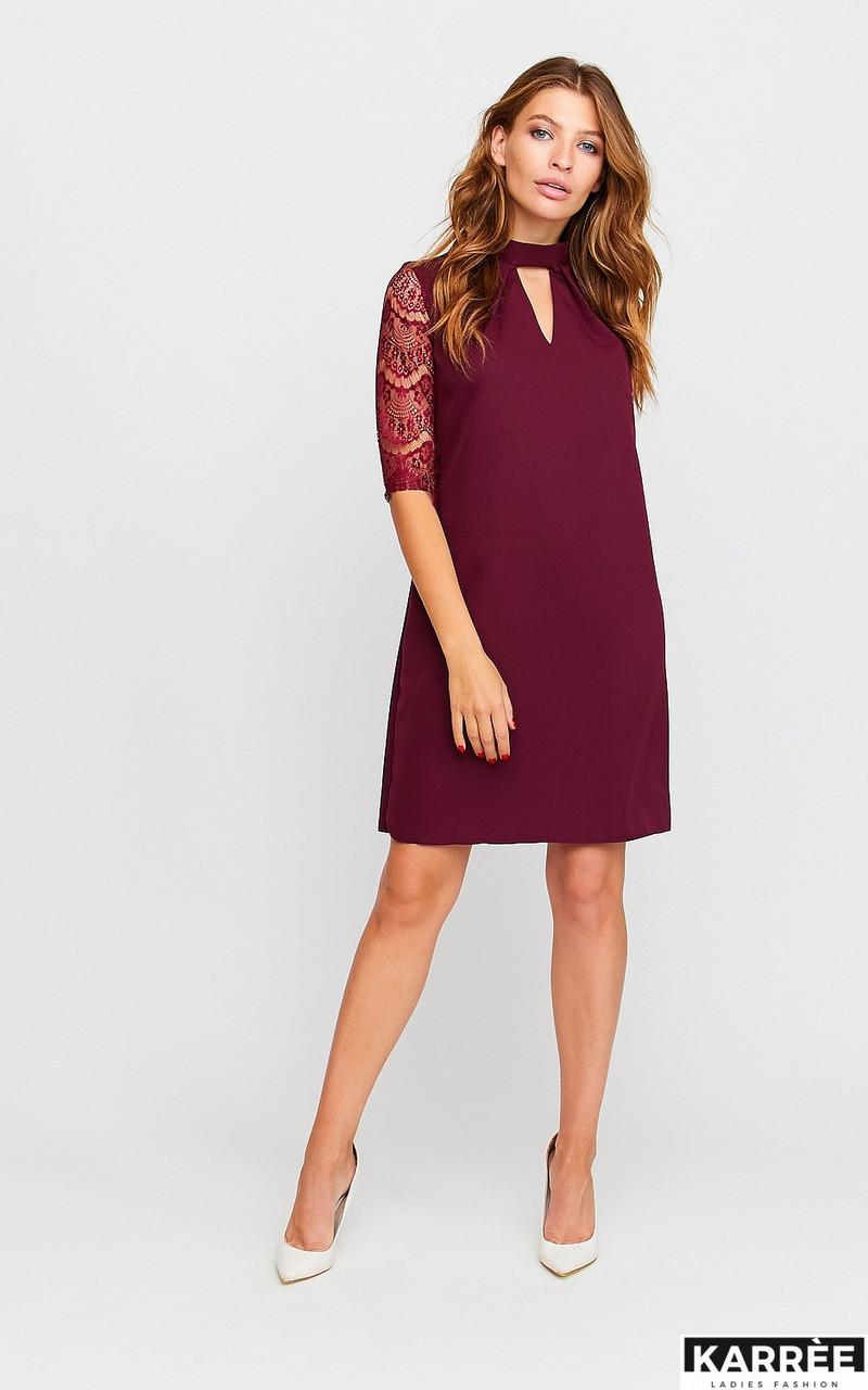 Красивое платье трапеция с гипюром бордовое