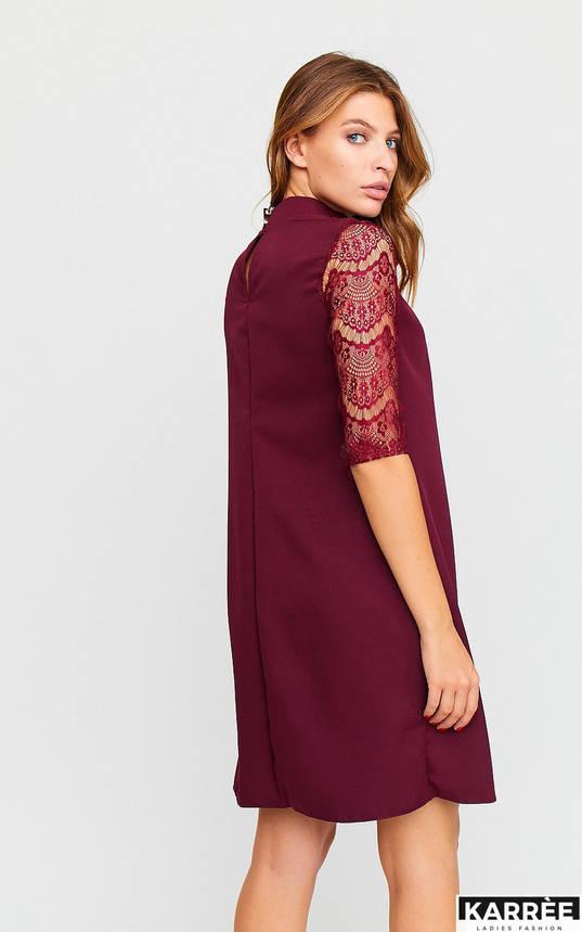 Красивое платье трапеция с гипюром бордовое, фото 2
