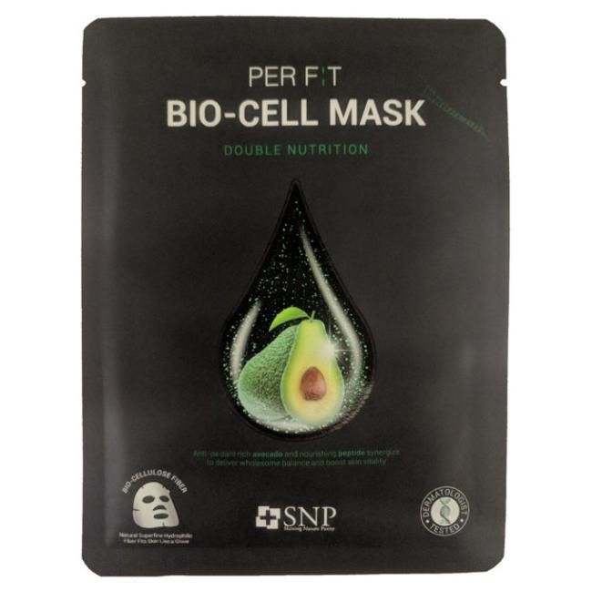 Биоцеллюлозная маска с маслом авокадо SNP Double-Synergy Nutrition Bio-cell Mask, 1 шт
