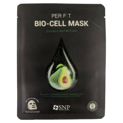 Биоцеллюлозная маска с маслом авокадо SNP Double-Synergy Nutrition Bio-cell Mask, 1 шт, фото 2