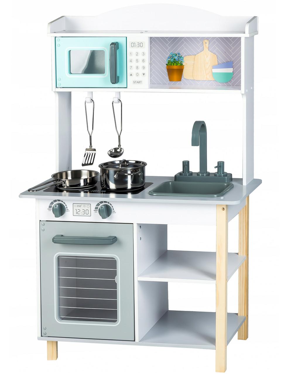 Детская деревянная кухонная плита и аксессуары Ecotoys
