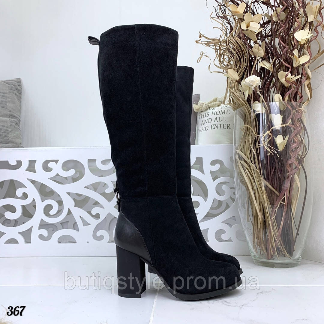 36 размер Зимние женские черные сапоги эко-замша+эко-кожа на каблуке