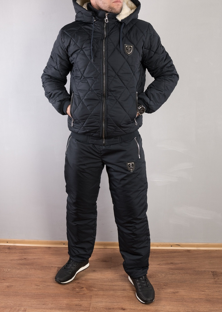 Мужской теплый зимний костюм.Мужской стеганый костюм, на овчине Philipp Plein. 48