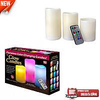 Светодиодные свечи набор с 3 шт Luma Candles Color Changing на батарейках