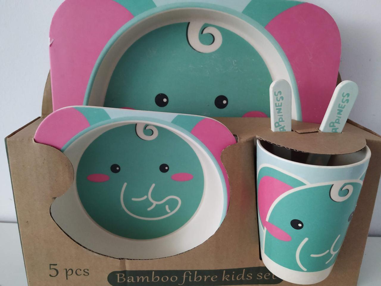 Набор детской бамбуковой посуды Слоненок