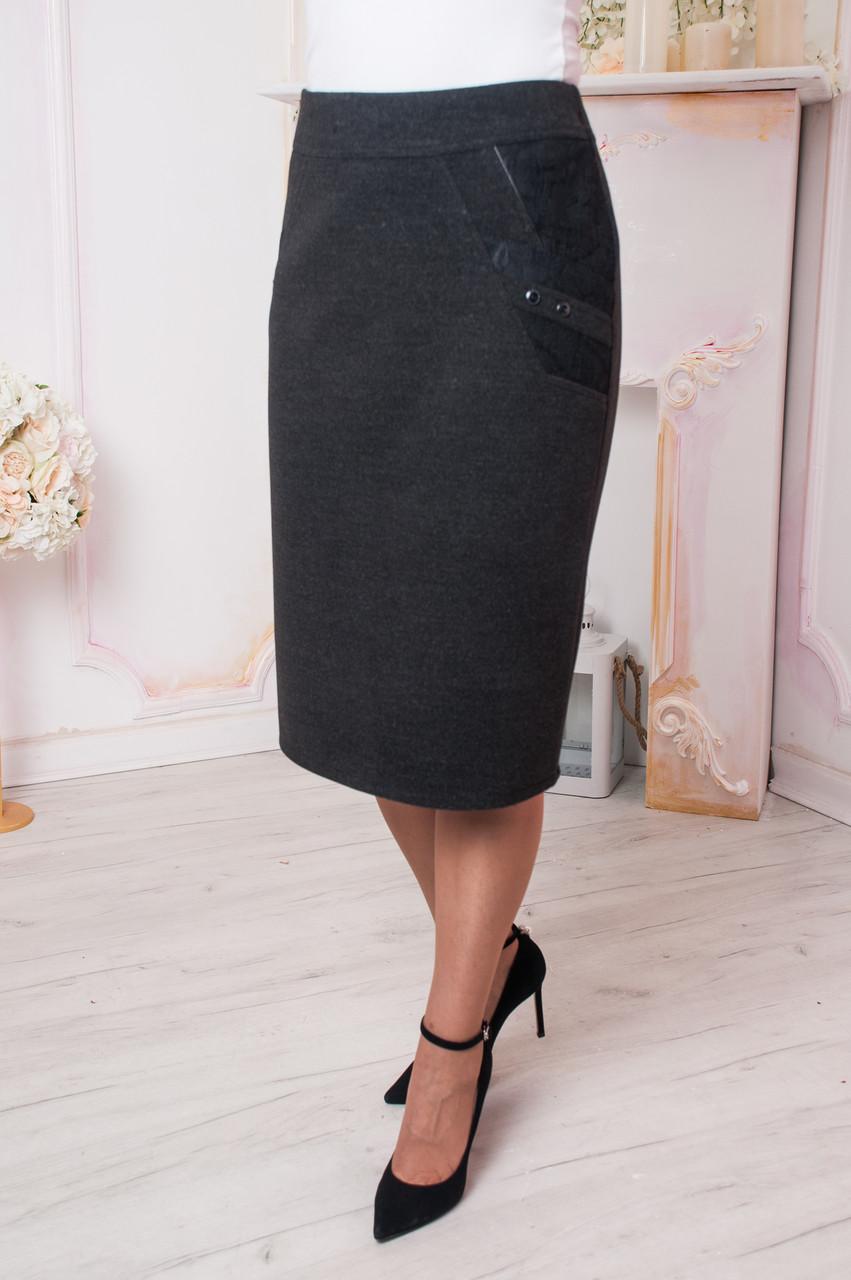 Женская юбка Нино кашемир серая