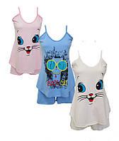 Женская пижама летняя, кулир,пижама женская летняя хлопок шорты - майка,женские пижамы от производителя