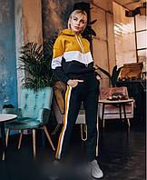 Женский спортивный костюм из трехнити на флисе, длинный рукав с манжетами, толстовка с капюшоном (42-56)