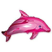 Фольгована кулька велика фігура Дельфін рожевий 56х95см Flexmetal