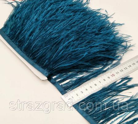 Перьевая тесьма из перьев страуса Цвет Темно Бирюзовый Перо 10-15см Цена за 0,5м