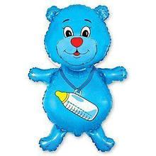 Фольгована кулька велика фігура Ведмідь блакитний 92х59 см Flexmetal