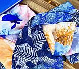 Платок шелковый 10079-13, павлопосадский платок (крепдешин) шелковый с подрубкой, фото 3