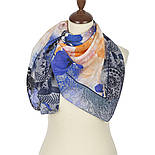 Платок шелковый 10079-13, павлопосадский платок (крепдешин) шелковый с подрубкой, фото 2
