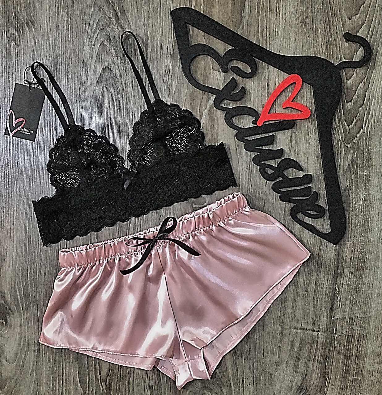 Женский набор, кружевной бюстгальтер и пудровые шорты