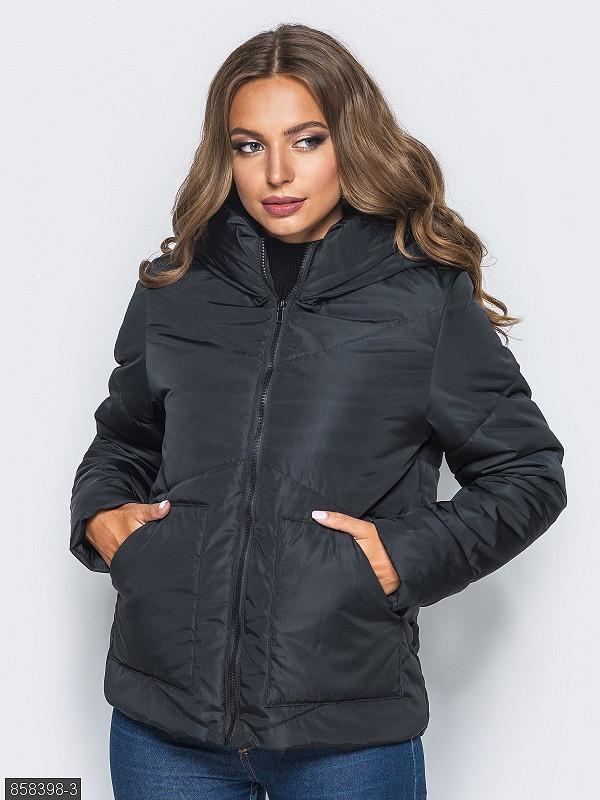 Черная короткая женская куртка, с капюшоном 42,44,46,48,50,52