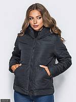Черная короткая женская куртка, с капюшоном 42,44,46,48,50,52, фото 1