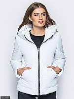 Белая короткая женская куртка, с капюшоном 42,44,46,48,50,52, фото 1