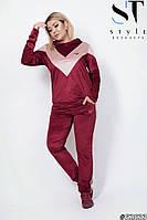 Женский велюровый двухцветный прогулочный спортивный костюм с капюшоном, батал большие размеры