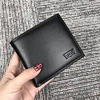 Кошелек мужской кожаный черный качественный в подарочной упаковке Levi's, фото 1