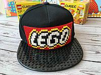 Детская кепка-конструктор для Lego чорная кепка с черным козырьком