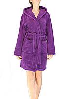 Халат женский махровый короткий Zeron Фиолетовый (Турция)