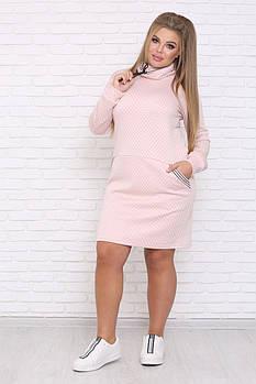 / Размер 48-72 / Женское платье спортивного кроя LUCKY / цвет розовый