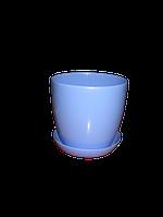 """Квітковий Вазон """"Матильда"""" з підставкою V=0,8 л (d=11см h=10,5 см) блакитний """"Омела"""""""