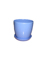 """Вазон цветочный """"Матильда"""" с подставкой V=0,8л (d=11см h=10,5см) голубой """"Омела"""""""