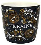 """Чашка черная матовая  """"Орнамент золото"""", фото 2"""