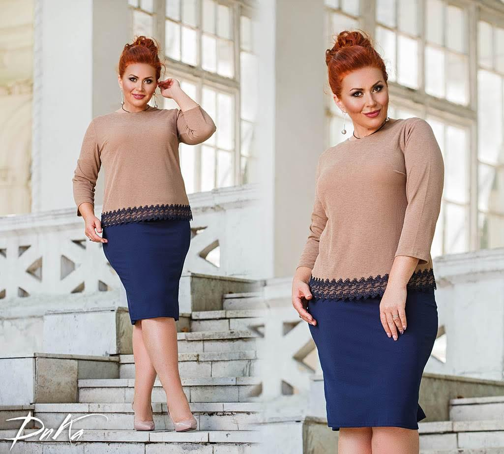 Костюм  БАТАЛ юбка + кофта в расцветках 04р1560