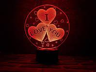 Детский ночник - светильник  3d светильник три сердца
