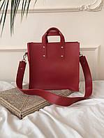 Женская классическая сумка  на широком ремне из эко кожи