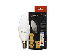 Світлодіодна LED лампа ELCOR 534317 Е14 C37 9Вт 700Лм 4200К свічка