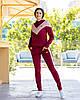 Жіночий велюровий двоколірний прогулянковий спортивний костюм з капюшоном, фото 8