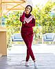Жіночий велюровий двоколірний прогулянковий спортивний костюм з капюшоном, фото 9