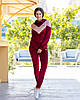 Жіночий велюровий двоколірний прогулянковий спортивний костюм з капюшоном, фото 10